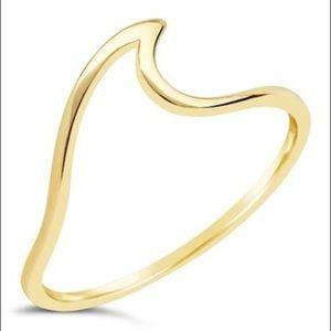 Sterling Forever 14K Gold Polished Wave Ring